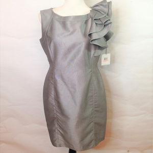 Calvin Klein 10 Gray Ruffle Collar Sheath Dress